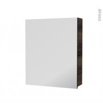 Armoire de toilette - Rangement haut - IPOMA Noyer - 1 porte miroir - Côtés décors - L60 x H70 x P17 cm