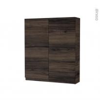 Armoire de toilette - Rangement haut - IPOMA Noyer - 2 portes - Côtés décors - L60 x H70 x P17 cm