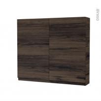 Armoire de toilette - Rangement haut - IPOMA Noyer - 2 portes - Côtés décors - L80 x H70 x P17 cm