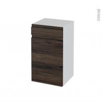Meuble de salle de bains - Rangement bas - IPOMA Noyer - 1 porte 1 tiroir - L40 x H70 x P37 cm