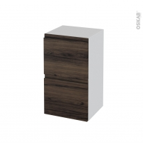 Meuble de salle de bains - Rangement bas - IPOMA Noyer - 2 tiroirs 1 tiroir à l'anglaise - L40 x H70 x P37 cm