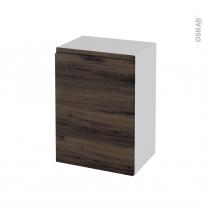 Meuble de salle de bains - Rangement bas - IPOMA Noyer - 1 porte - L50 x H70 x P37 cm