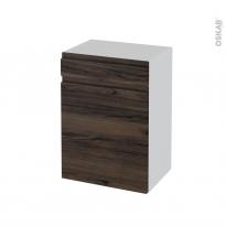 Meuble de salle de bains - Rangement bas - IPOMA Noyer - 1 porte 1 tiroir - L50 x H70 x P37 cm