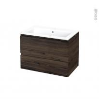 Meuble de salle de bains - Plan vasque NAJA - IPOMA Noyer - 2 tiroirs - Côtés décors - L80.5 x H58.5 x P50.5 cm