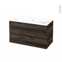 Meuble de salle de bains - Plan vasque NAJA - IPOMA Noyer - 2 tiroirs - Côtés décors - L100,5 x H58,5 x P50,5 cm