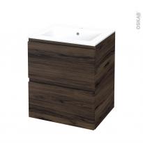 Meuble de salle de bains - Plan vasque NAJA - IPOMA Noyer - 2 tiroirs - Côtés décors - L60,5 x H71,5 x P50,5 cm