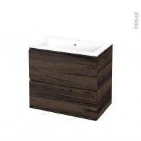 Meuble de salle de bains - Plan vasque NAJA - IPOMA Noyer - 2 tiroirs - Côtés décors - L80,5 x H71,5 x P50,5 cm