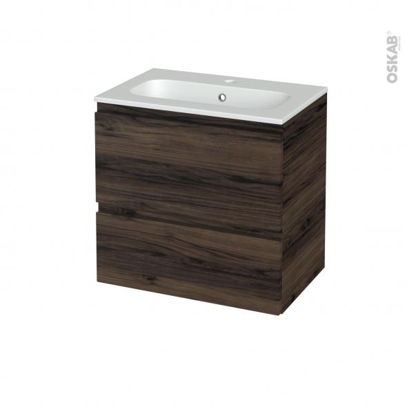 Meuble de salle de bains - Plan vasque REZO - IPOMA Noyer - 2 tiroirs - Côtés décors - L60,5 x H58,5 x P40,5 cm