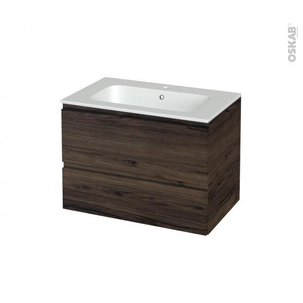 Meuble de salle de bains - Plan vasque REZO - IPOMA Noyer - 2 tiroirs - Côtés décors - L80.5 x H58.5 x P50.5 cm
