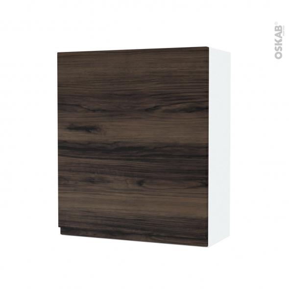 Armoire de salle de bains - Rangement haut - IPOMA Noyer - 1 porte - Côtés blancs - L60 x H70 x P27 cm