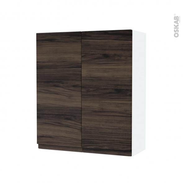 Armoire de salle de bains - Rangement haut - IPOMA Noyer - 2 portes - Côtés blancs - L60 x H70 x P27 cm