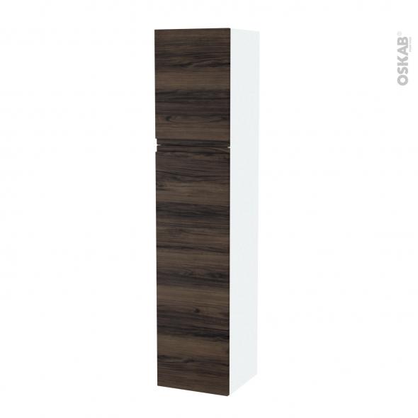 Colonne de salle de bains - 2 portes - IPOMA Noyer - Côtés blancs - Version A - L40 x H182 x P40 cm