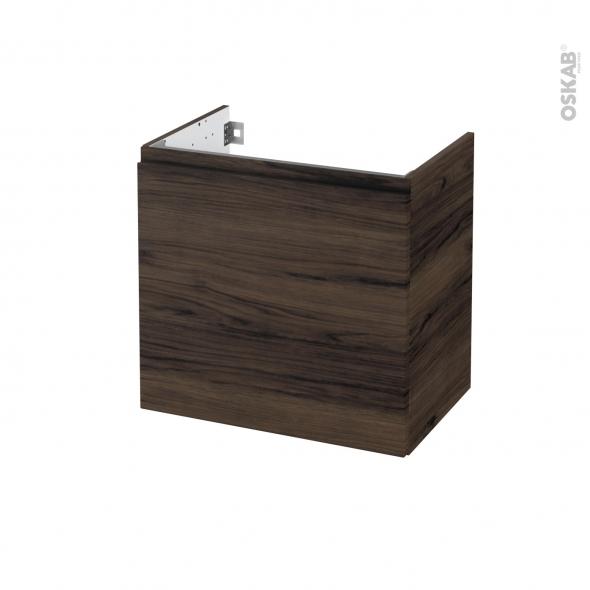 Meuble de salle de bains - Sous vasque - IPOMA Noyer - 1 porte - Côtés décors - L60 x H57 x P40 cm