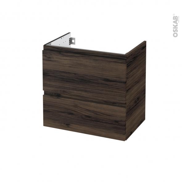 Meuble de salle de bains - Sous vasque - IPOMA Noyer - 2 tiroirs - Côtés décors - L60 x H57 x P40 cm