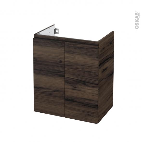 Meuble de salle de bains - Sous vasque - IPOMA Noyer - 2 portes - Côtés décors - L60 x H70 x P40 cm