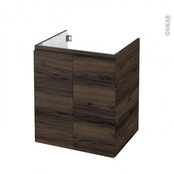Meuble de salle de bains - Sous vasque - IPOMA Noyer - 2 portes - Côtés décors - L60 x H70 x P50 cm