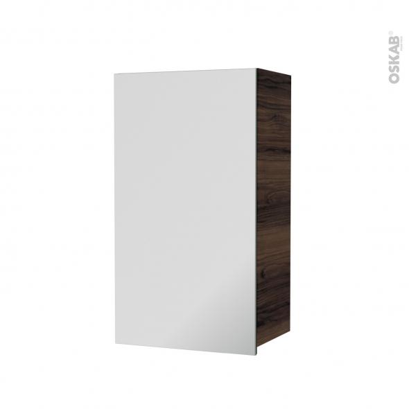Armoire de salle de bains - Rangement haut - IPOMA Noyer - 1 porte miroir - Côtés décors - L40 x H70 x P27 cm