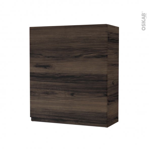 Armoire de salle de bains - Rangement haut - IPOMA Noyer - 1 porte - Côtés décors - L60 x H70 x P27 cm