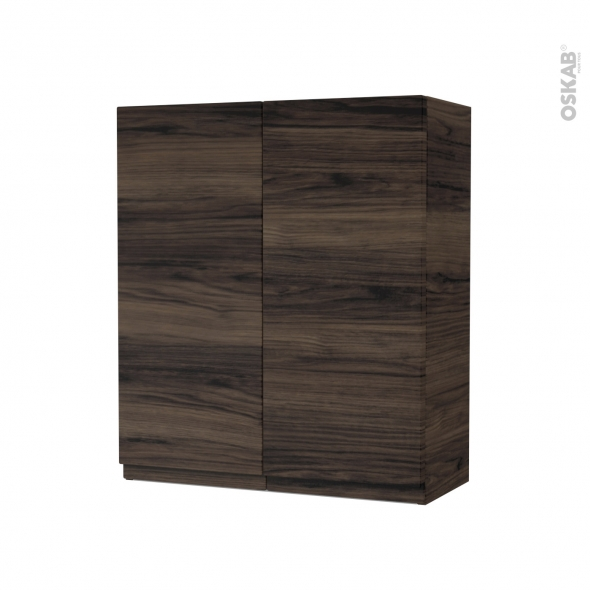 Armoire de salle de bains - Rangement haut - IPOMA Noyer - 2 portes - Côtés décors - L60 x H70 x P27 cm