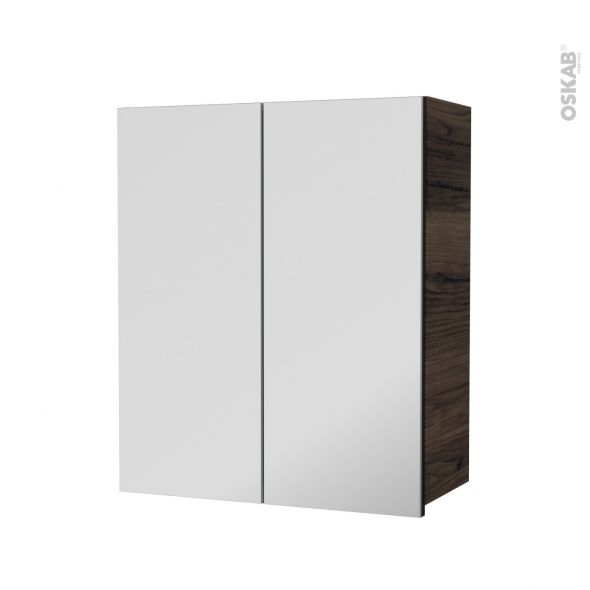 Armoire de salle de bains - Rangement haut - IPOMA Noyer - 2 portes miroir - Côtés décors - L60 x H70  xP27 cm