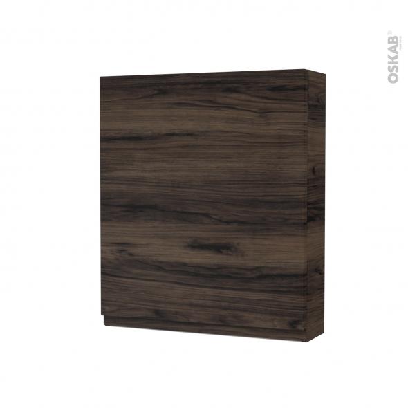 Armoire de toilette - Rangement haut - IPOMA Noyer - 1 porte - Côtés décors - L60 x H70 x P17 cm