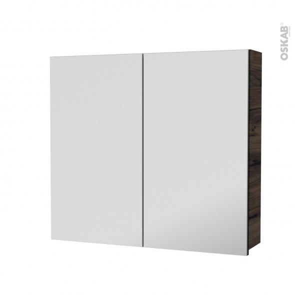 Armoire de toilette - Rangement haut - IPOMA Noyer - 2 portes miroir - Côtés décors - L80 x H70 x P17 cm