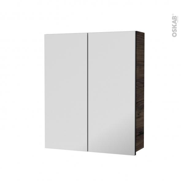 Armoire de toilette - Rangement haut - IPOMA Noyer - 2 portes miroir - Côtés décors - L60 x H70 x P17 cm