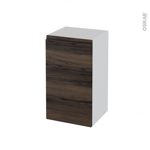 Meuble de salle de bains - Rangement bas - IPOMA Noyer - 1 porte - L40 x H70 x P37 cm