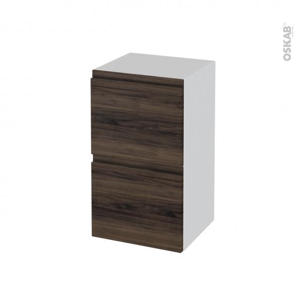 Meuble de salle de bains - Rangement bas - IPOMA Noyer - 2 tiroirs - L40 x H70 x P37 cm