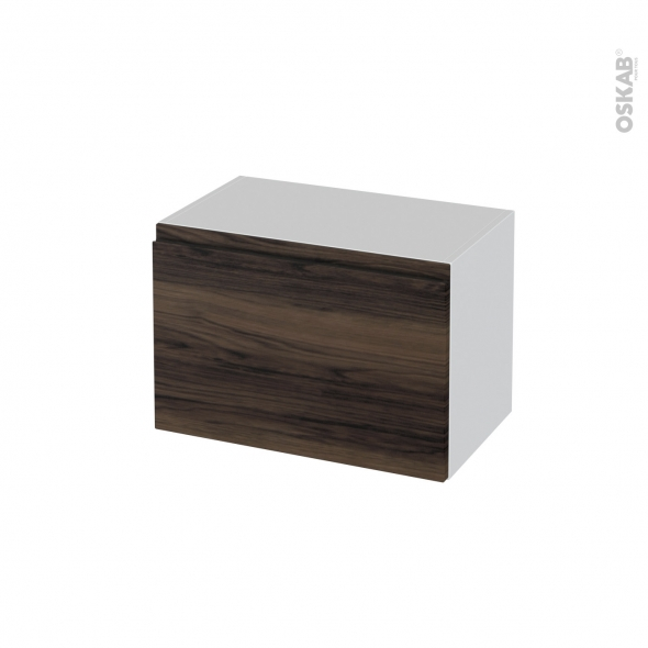 Meuble de salle de bains - Rangement bas - IPOMA Noyer - 1 porte - L60 x H41 x P37 cm