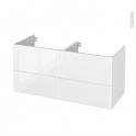 Meuble de salle de bains - Sous vasque double - IRIS Blanc - 4 tiroirs - Côtés décors - L120 x H57 x P50 cm