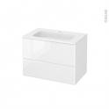 Meuble de salle de bains - Plan vasque REZO - IRIS Blanc - 2 tiroirs - Côtés décors - L80,5 x H58,5 x P50,5 cm