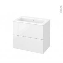 Meuble de salle de bains - Plan vasque NAJA - IRIS Blanc - 2 tiroirs - Côtés décors - L80,5 x H71,5 x P50,5 cm