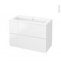 Meuble de salle de bains - Plan vasque NAJA - IRIS Blanc - 2 tiroirs - Côtés décors - L100,5 x H71,5 x P50,5 cm