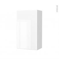 Armoire de salle de bains - Rangement haut - IRIS Blanc - 1 porte - Côtés blancs - L40 x H70 x P27 cm