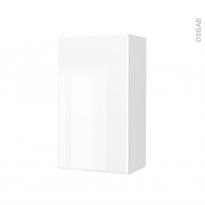 Armoire de salle de bains - Rangement haut - IRIS Blanc - 1 porte - Côtés décors - L40 x H70 x P27 cm
