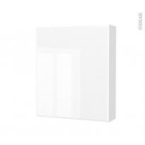 Armoire de toilette - Rangement haut - IRIS Blanc - 1 porte - Côtés décors - L60 x H70 x P17 cm