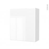Armoire de salle de bains - Rangement haut - IRIS Blanc - 1 porte - Côtés décors - L60 x H70 x P27 cm