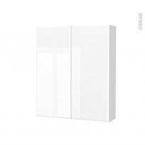 Armoire de toilette - Rangement haut - IRIS Blanc - 2 portes - Côtés blancs - L60 x H70 x P17 cm