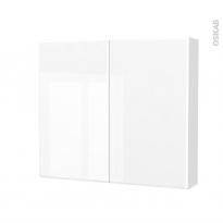 Armoire de toilette - Rangement haut - IRIS Blanc - 2 portes - Côtés décors - L80 x H70 x P17 cm