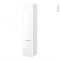 Colonne de salle de bains - 2 portes - IRIS Blanc - Côtés décors - Version B - L40 x H182 x P40 cm