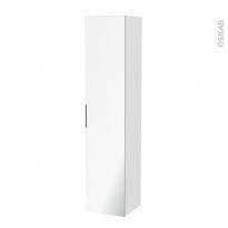 Colonne de salle de bains - 1 porte miroir - IRIS Blanc - Côtés décors - L40 x H182 x P40 cm