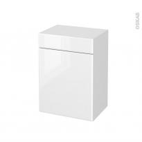 Meuble de salle de bains - Rangement bas - IRIS Blanc - 1 porte 1 tiroir - L50 x H70 x P37 cm