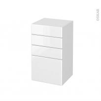 Meuble de salle de bains - Rangement bas - IRIS Blanc - 4 tiroirs - L40 x H70 x P37 cm
