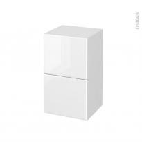 Meuble de salle de bains - Rangement bas - IRIS Blanc - 2 tiroirs 1 tiroir à l'anglaise - L40 x H70 x P37 cm