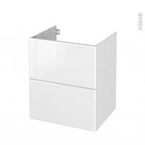 Meuble de salle de bains - Sous vasque - IRIS Blanc - 2 tiroirs - Côtés décors - L60 x H70 x P50 cm