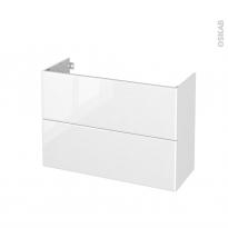 Meuble de salle de bains - Sous vasque - IRIS Blanc - 2 tiroirs - Côtés décors - L100 x H70 x P40 cm