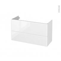 Meuble de salle de bains - Sous vasque - IRIS Blanc - 2 tiroirs - Côtés décors - L100 x H57 x P40 cm