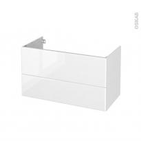 Meuble de salle de bains - Sous vasque - IRIS Blanc - 2 tiroirs - Côtés décors - L100 x H57 x P50 cm