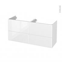 Meuble de salle de bains - Sous vasque double - IRIS Blanc - 4 tiroirs - Côtés décors - L120 x H57 x P40 cm